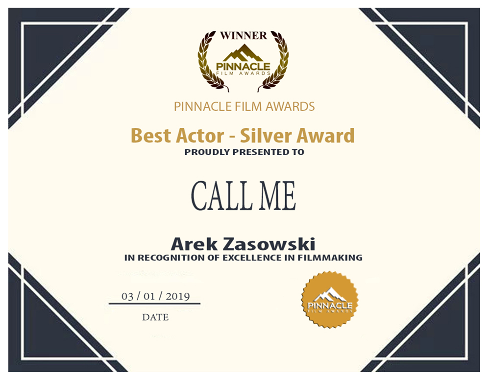 Best Actor - Call Me - Pinnacle Film Awards, Hollywood Hills, CA